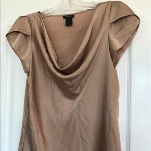 Ann Taylor Gold Satin blouse scoopneck. Small